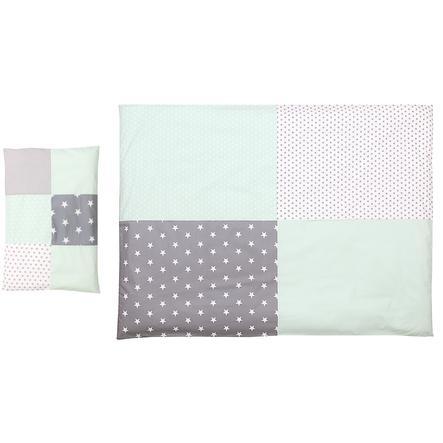 Ullenboom dětské ložní prádlo - set mentolová/šedá 135 x 100 cm + 40 x 60 cm