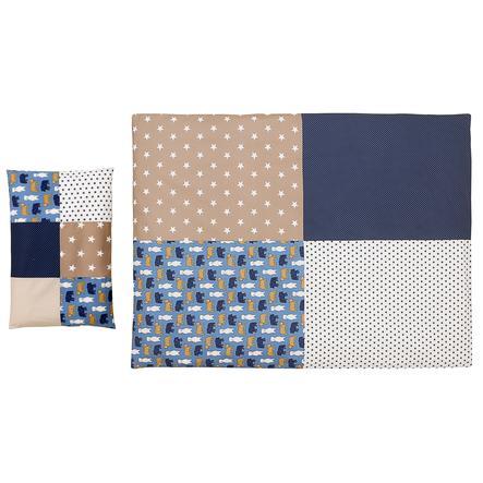 Ullenboom dětské ložní prádlo - set písková medvídek 135 x 100 cm + 40 x 60 cm