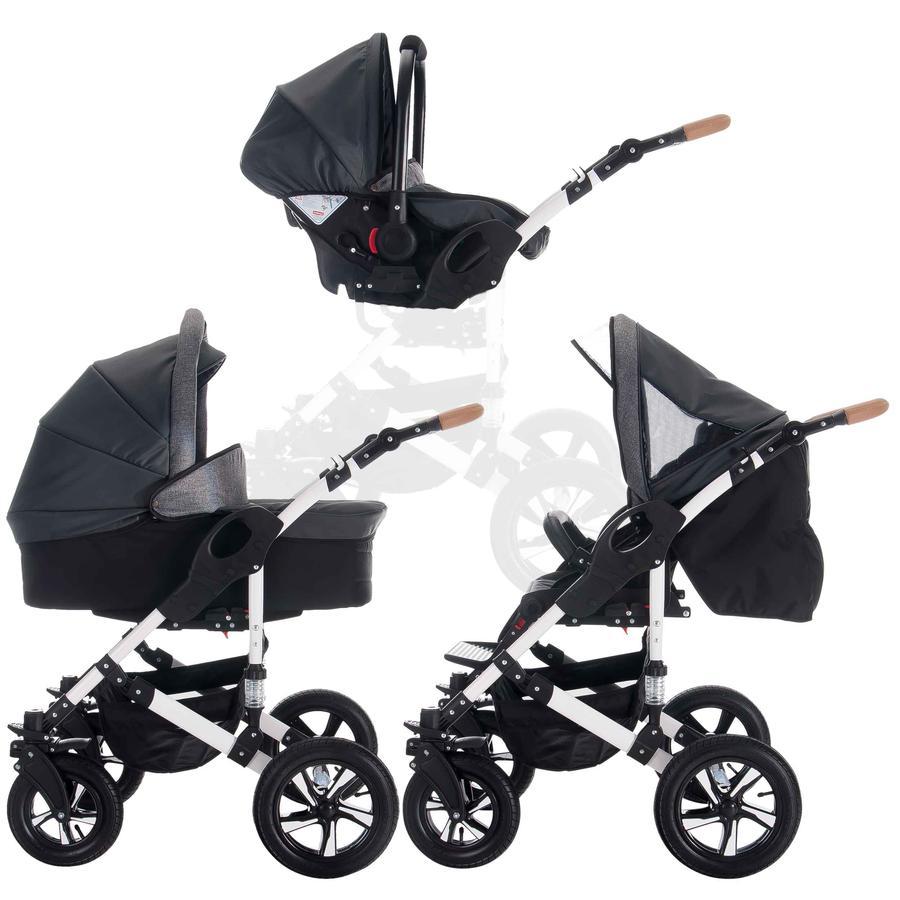 bebebi kombikinderwagen myvario 3 in 1 mystar grau siber. Black Bedroom Furniture Sets. Home Design Ideas