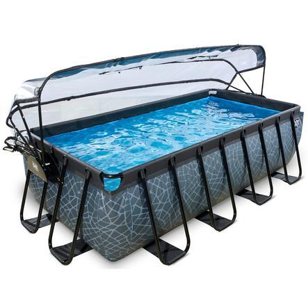 EXIT Pool Stone 400x200cm mit Abdeckung und Filterpumpe, grau