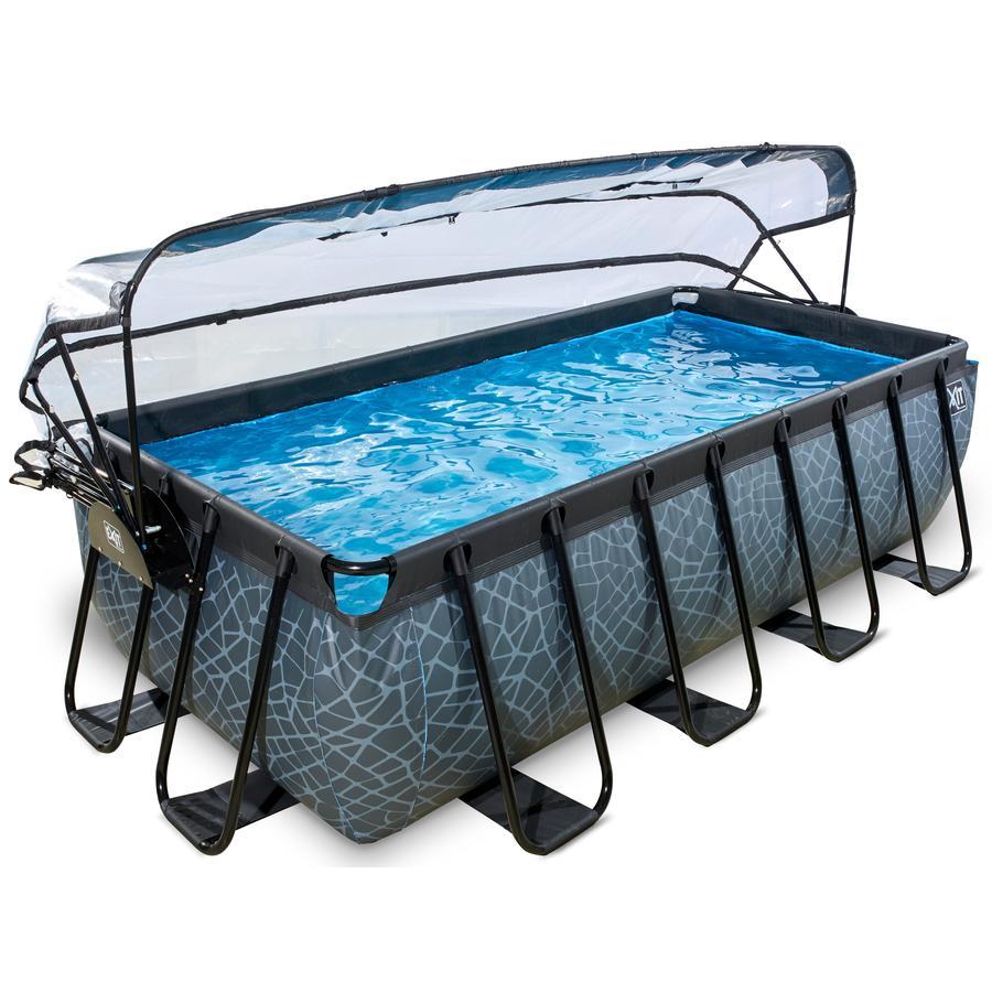 exit pool stone 400x200cm mit abdeckung und filterpumpe grau. Black Bedroom Furniture Sets. Home Design Ideas