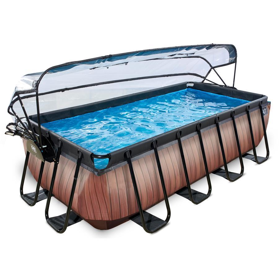 EXIT Pool Wood 400x200cm mit Abdeckung und Filterpumpe, braun
