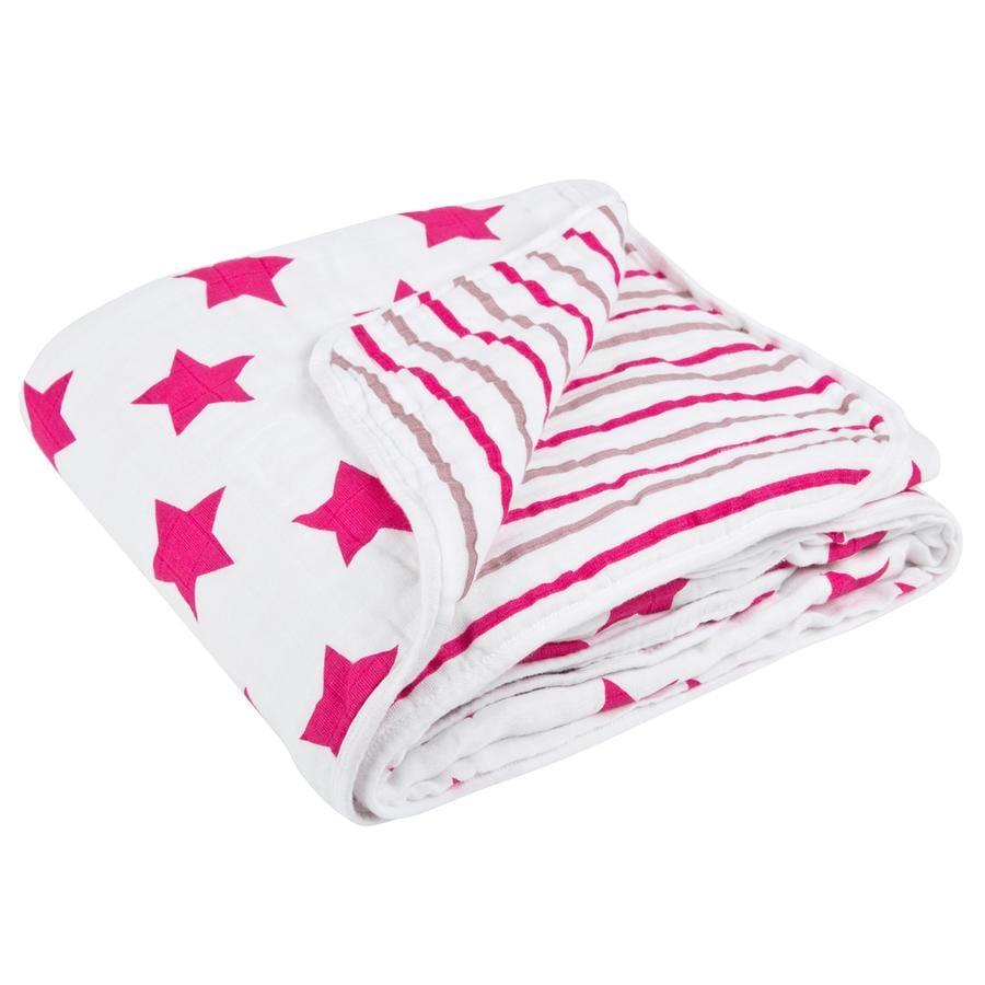 LÄSSIG Cozy Blanket XL Stars & Stripes Girls 120 x 120cm