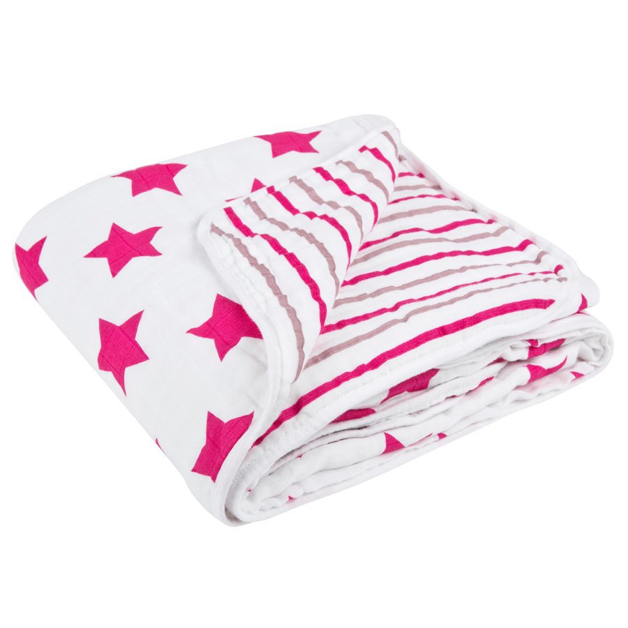 LÄSSIG Cozy Blanket XL Stars & Stripes Grils 120 x 120 cm