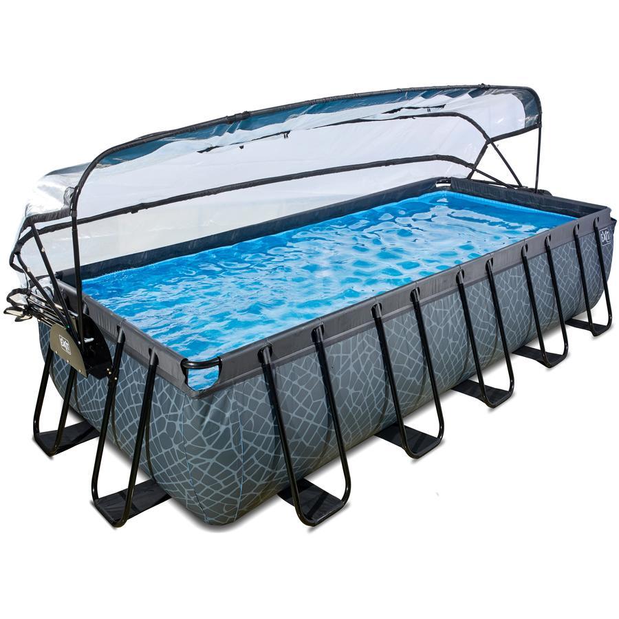 EXIT Pool Stone 540x250cm mit Abdeckung und Filterpumpe, grau