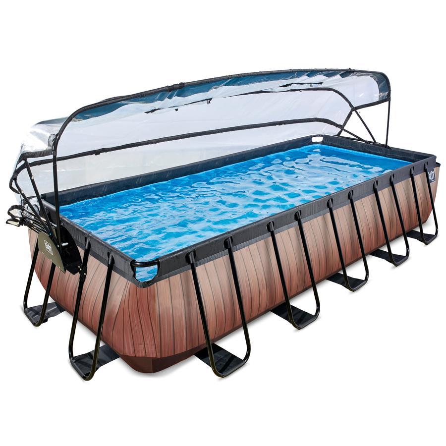 EXIT Pool Wood 540x250cm med afdækning og filterpumpe, brun