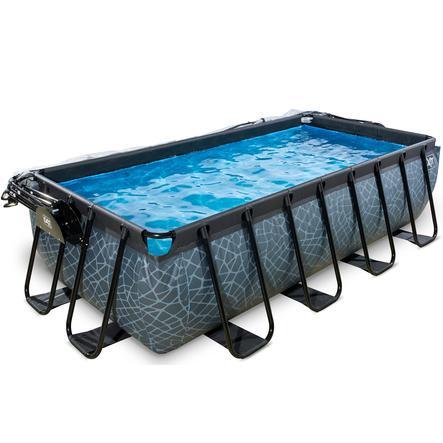 EXIT Pool Stone 400x200cm med afdækning og sandfilterpumpe, grå