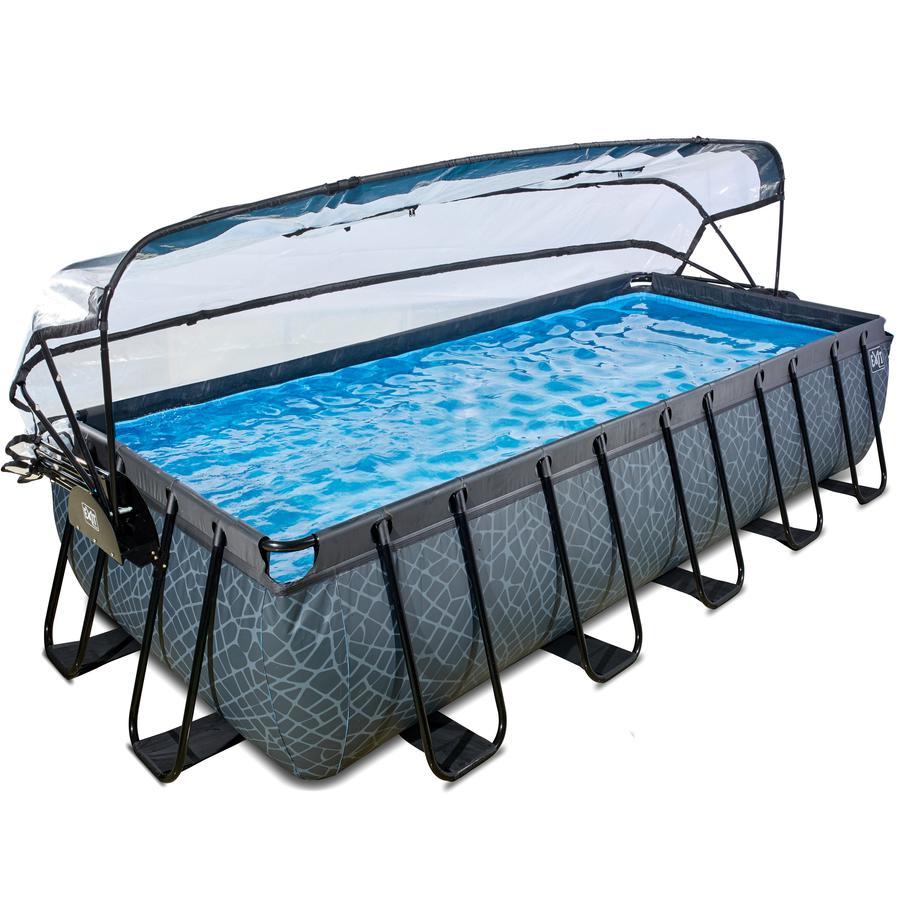 EXIT zwembad Stone 540x250cm met overkapping en zandfilterpomp - grijs