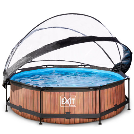 EXIT Pool Wood 300x76cm con copertura e pompa filtro, marrone