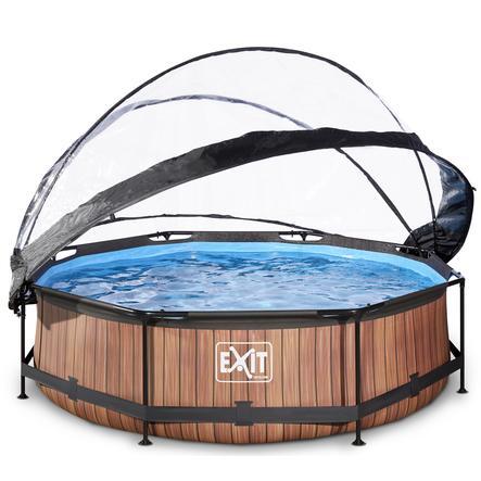 EXIT Pool Wood 300x76cm med överdrag och filterpump, brun