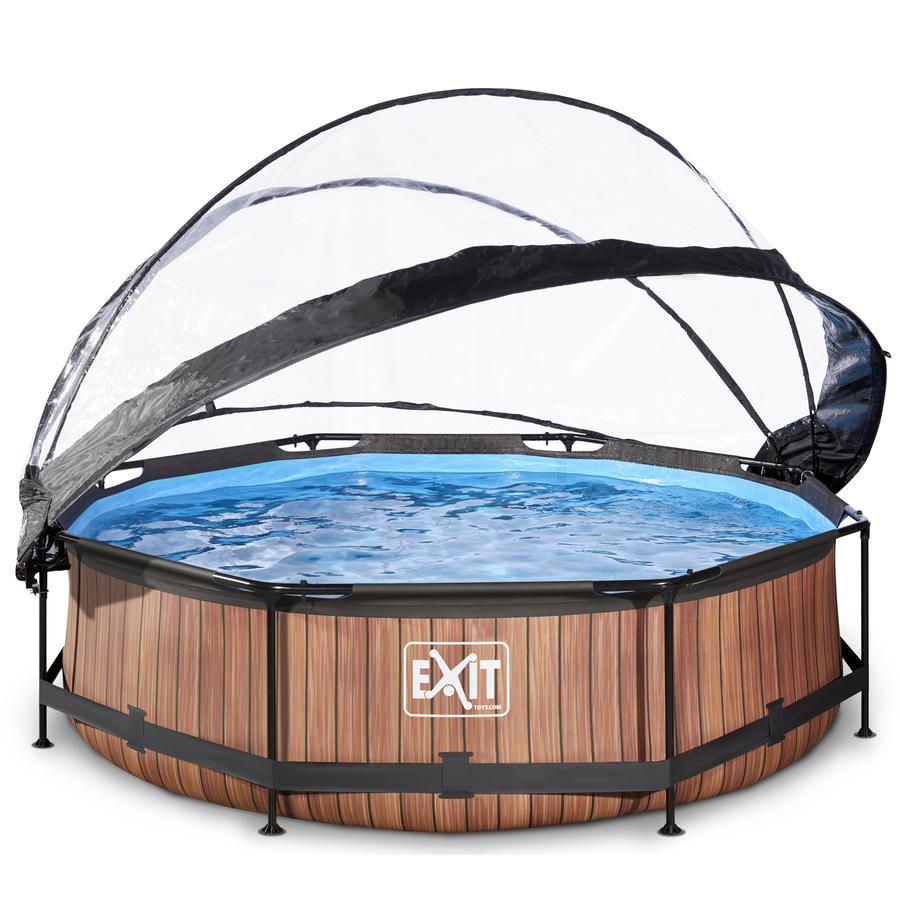 EXIT Pool Wood 300x76cm med afdækning og filterpumpe, brun