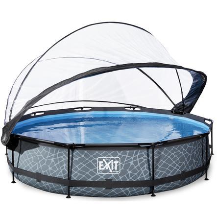 EXIT Pool Stone 360x76cm con copertura e pompa filtro, grigio