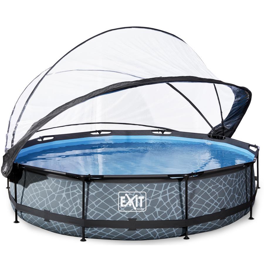 EXIT Pool Stone 360x76 cm med överdrag och filterpump, grå