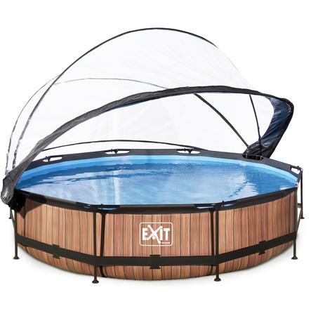 eeadf1e5cc92d0 EXIT Wood zwembad ø360x76cm met overkapping en filterpomp - bruin