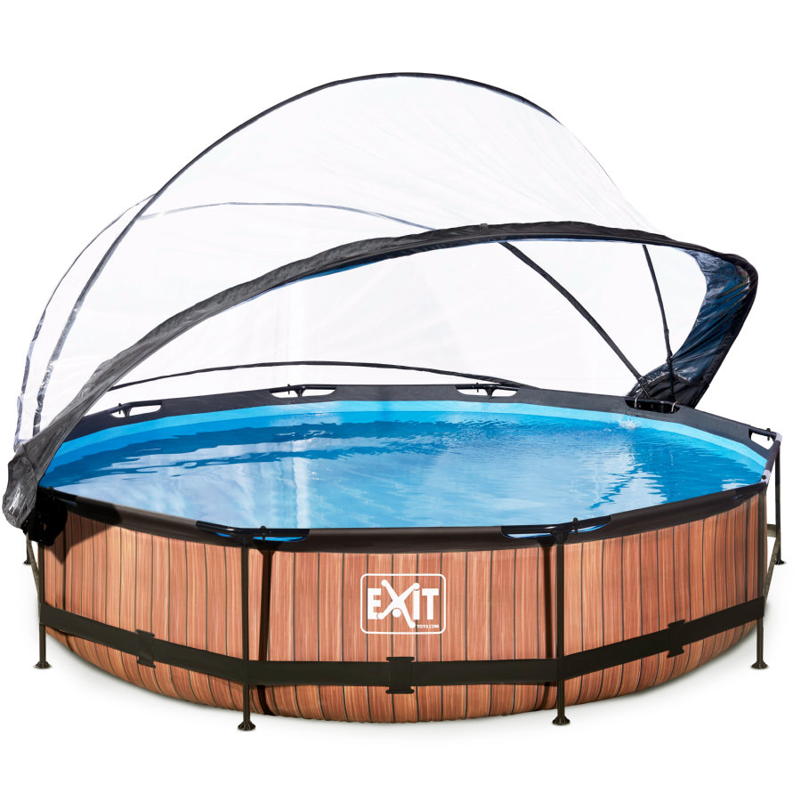 EXIT Pool Wood 360x76cm med överdrag och filterpump, brun