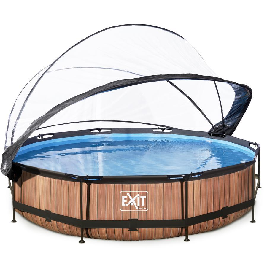 EXIT Pool Wood 360x76cm mit Abdeckung und Filterpumpe, braun