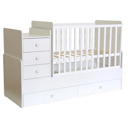 Polini Kids Kombi-Kinderbett Simple 1100 mit Kommode weiß