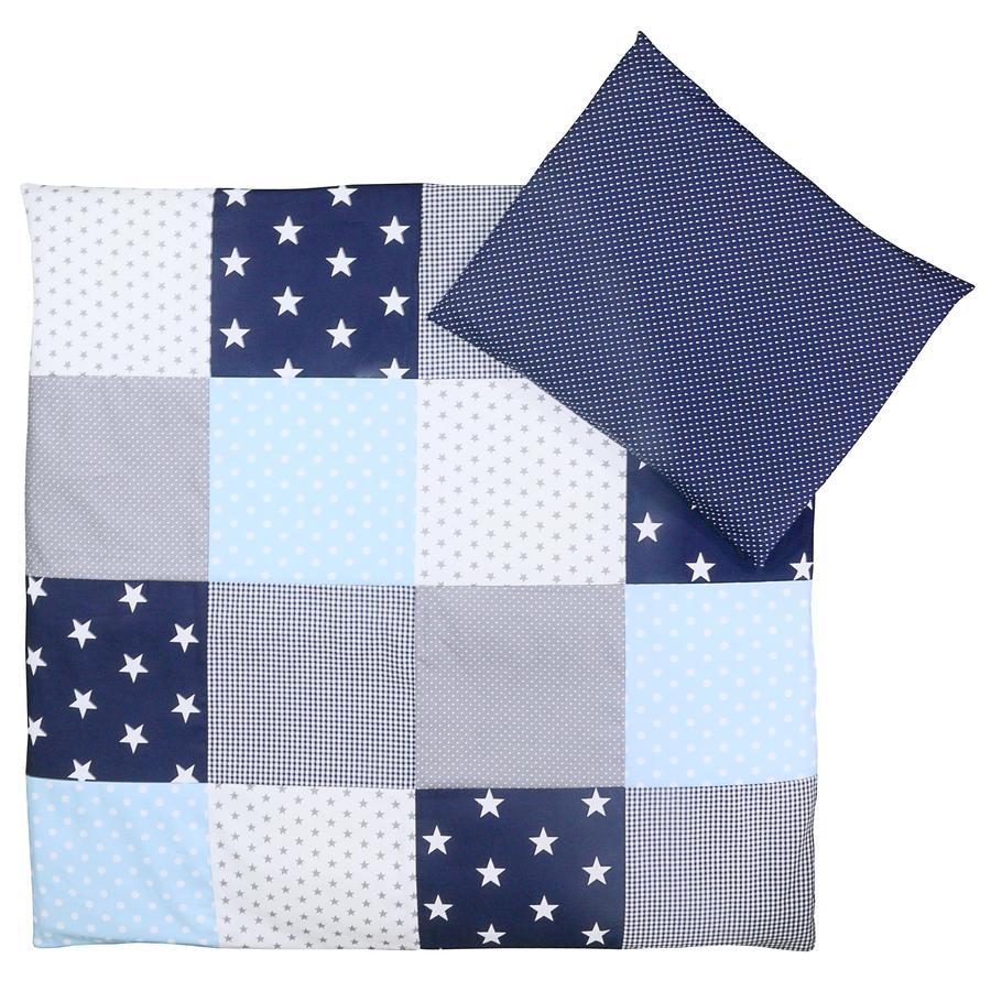 Ullenboom Børnesengetøjs-Sæt Blå Grå 80 x 80 cm + 35 x 40 cm