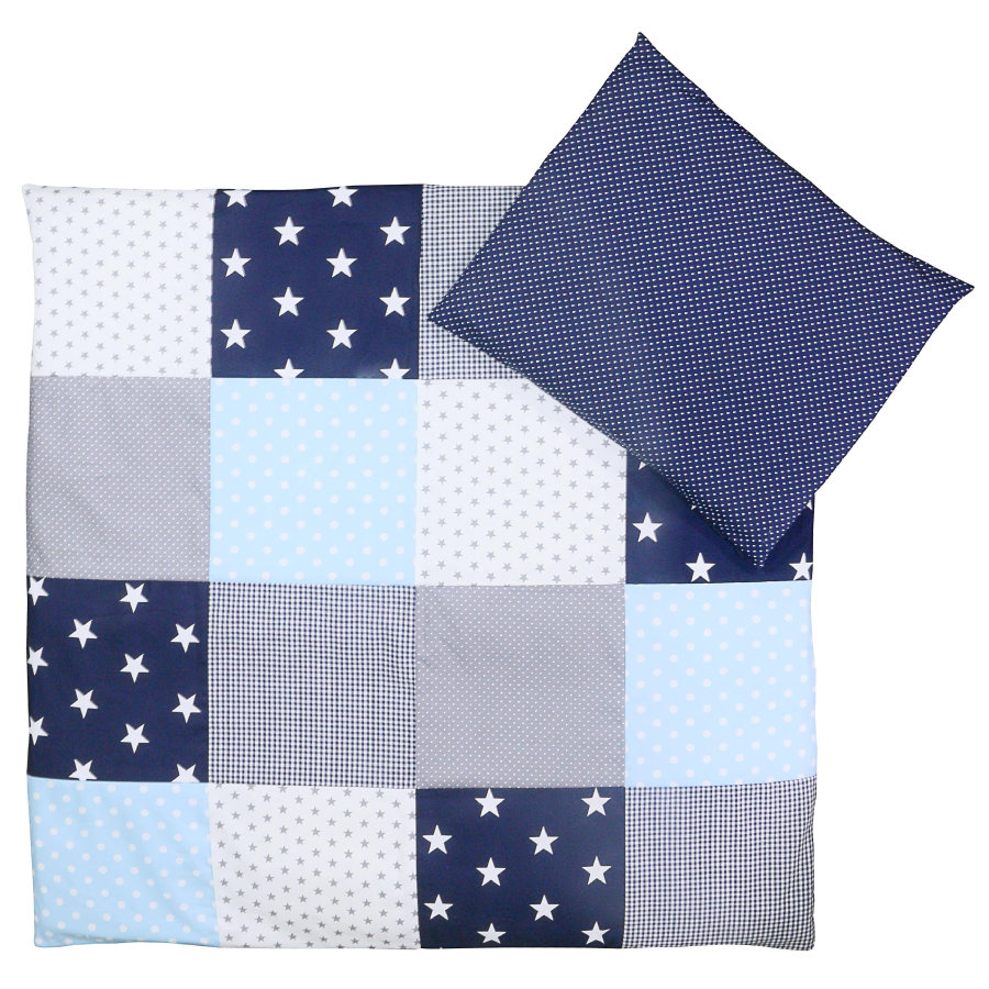 Ullenboom Set Biancheria da letto per neonato Blu Azzurro Azzurro Grigio 80 x 80 cm + 35 x 40 cm