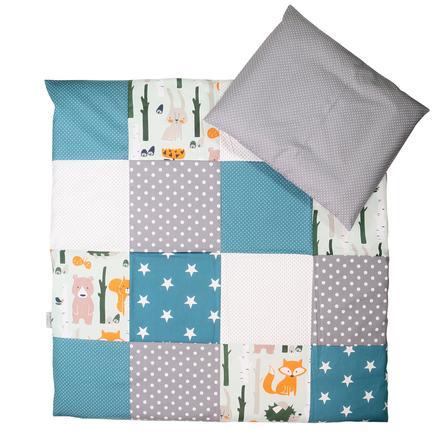 Ullenboom Set di biancheria da letto per bambini animali della foresta Petrol 80 x 80 cm + 35 x 40 cm