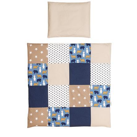 Ullenboom Set de ropa de cama de bebé Oso de arena 80 x 80 cm + 35 x 40 cm