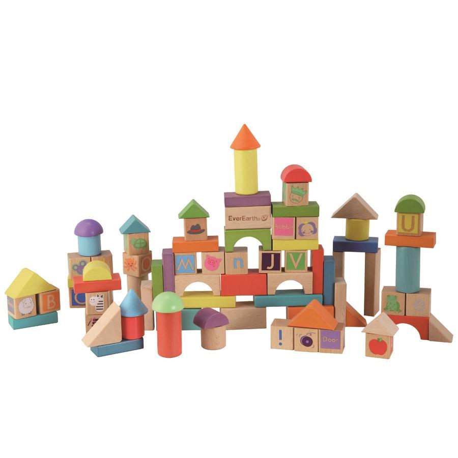 EverEarth® Briques enfant bois 80 pièces