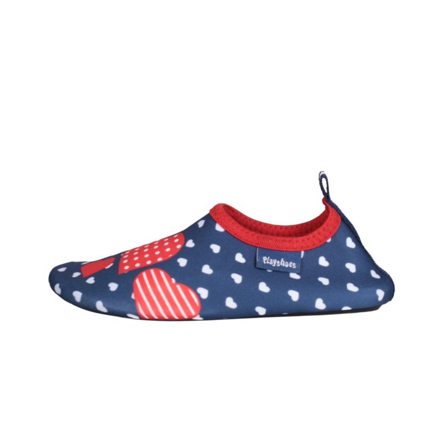Playshoes Chaussons enfant coeurs bleu marine