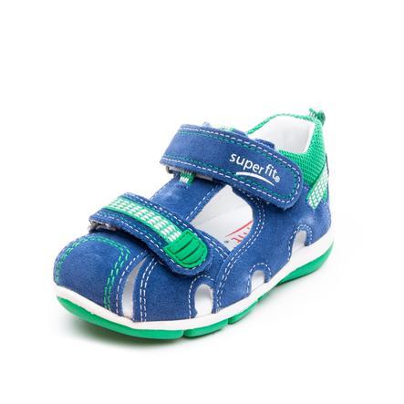 Sandales enfant scratch Freddy bleu/vert, largeur moyenne