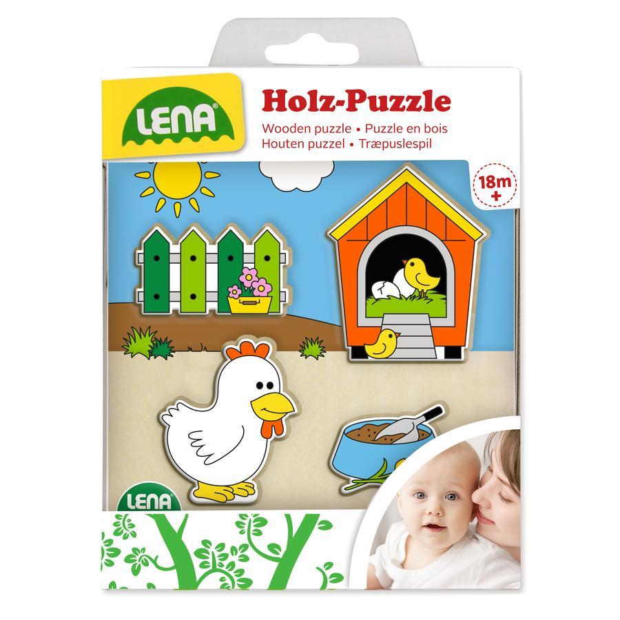 LENA® Puzzle enfant poulailler bois