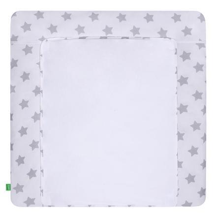 LULANDO Wickelauflage mit 2 Bezügen Sterne weiß 76 x 76 cm