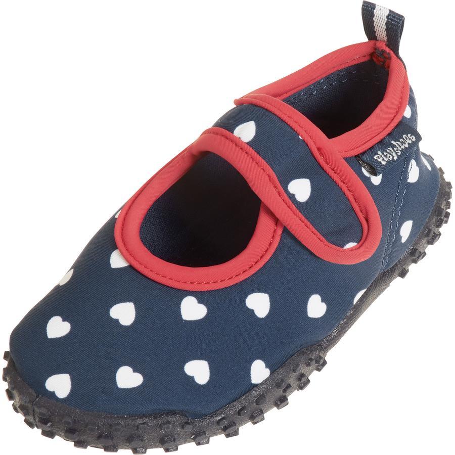Playshoes Protección UV Zapatos Aqua corazón azul marino