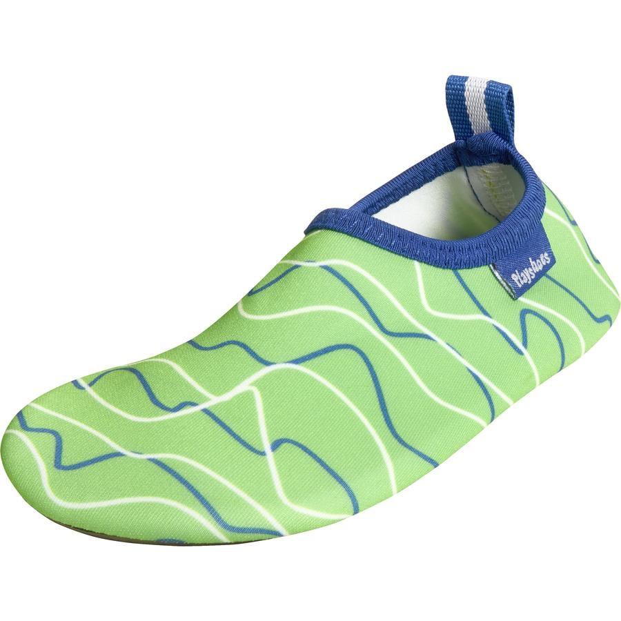 Playshoes Chaussons de bain enfant vagues bleu/vert