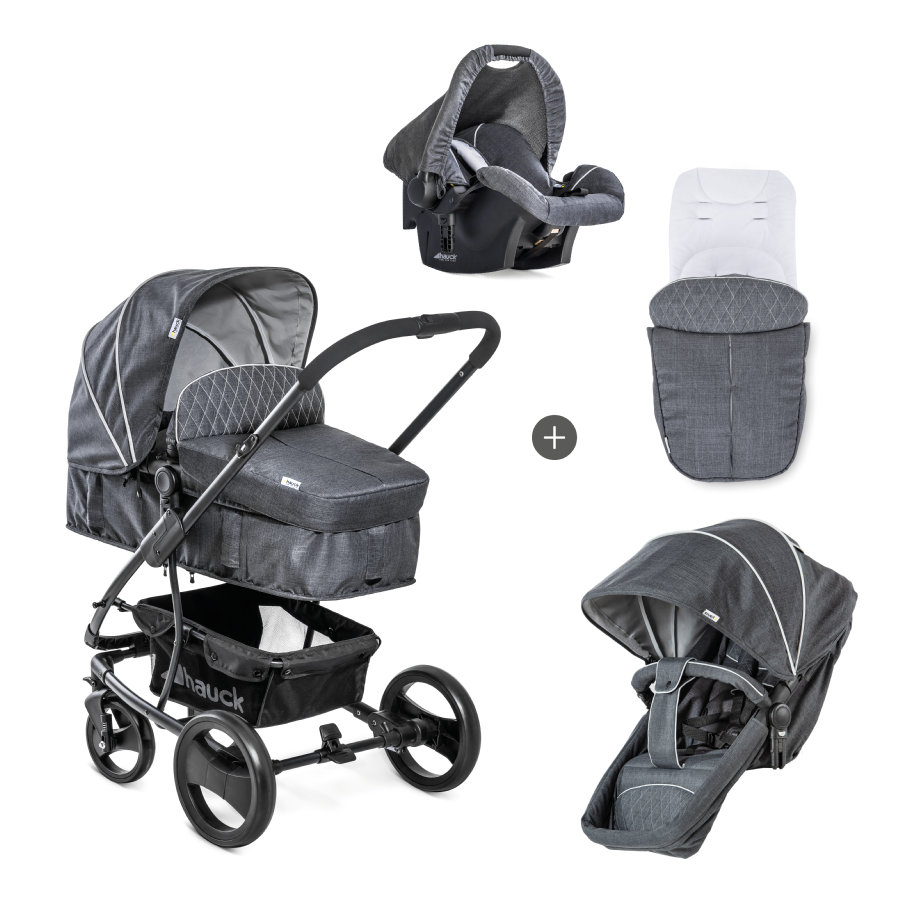 hauck Passeggino trio Pacific 4 Shop N Drive Set Melange Charcoal