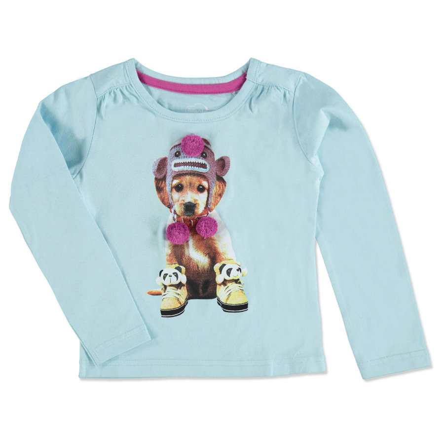 EMOI Girls Mini Bluzka z długim rękawem DOG light blue