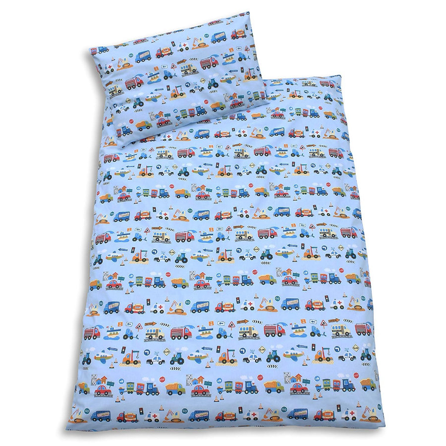 IDEENREICH Parure de lit enfant 100x135 cm voitures