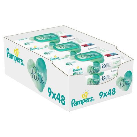 Pampers Aqua Pure Feuchttücher 9 Packungen = 432 Feuchttücher