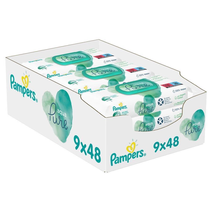 Pampers Vochtige doekjes Aqua 9 x 48 stuks (432 doekjes)