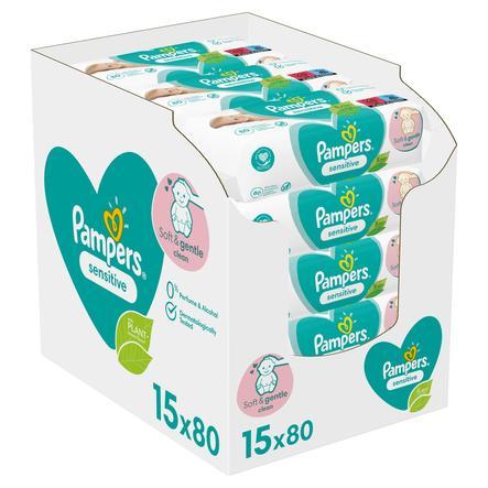 Pampers Vochtige doekjes Sensitive voordeelpak 15 x 80 stuks (1200 doekjes)