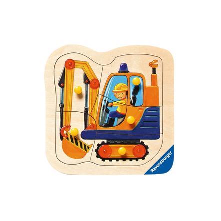 RAVENSBURGER Drewniane puzzle Żółta koparka 5 elementów 03663