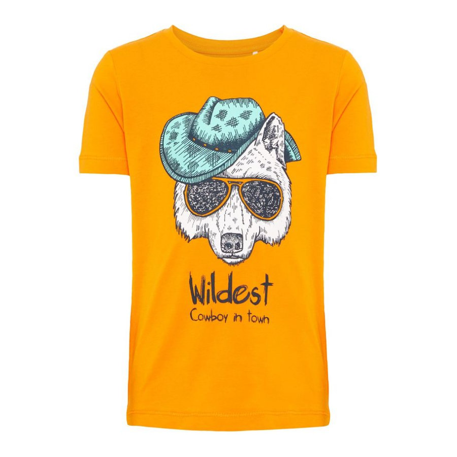 name it Boys T-Shirt Huggin Flame Orange