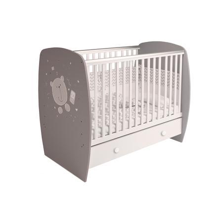 Polini Kids Babybett French 710 Teddy grau-weiß