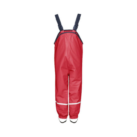 PLAYSHOES Fleece Lined Rain Pants with Suspenders red