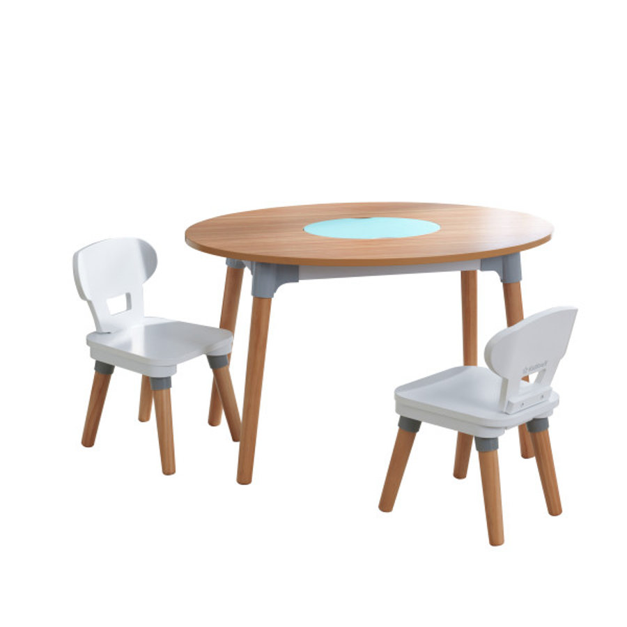 KidKraft® Table enfant Mid-Century Kid, 2 chaises, bois blanc/naturel 26195