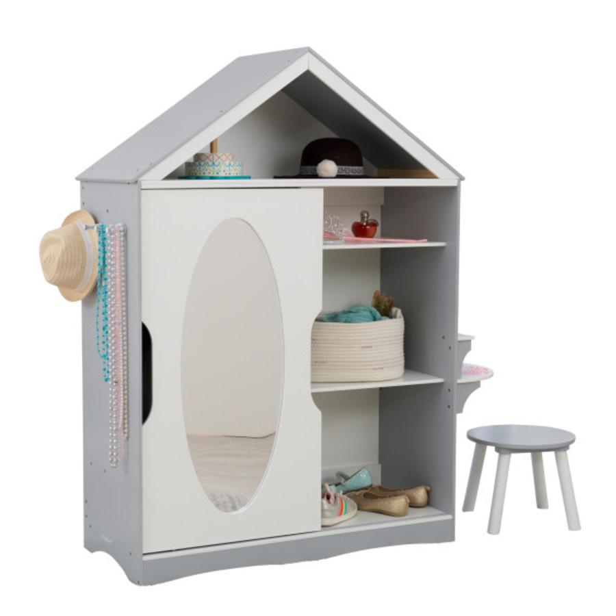 KidKraft® Armoire enfant pour costumes, miroir bois gris/blanc 13040