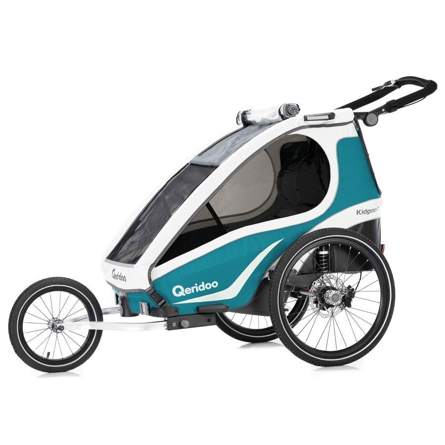Qeridoo® Remorque vélo enfant Kidgoo1 Sport aigue-marine