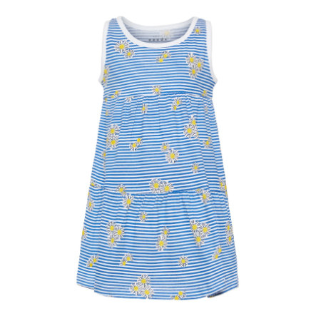 name it Girls Kleid Vigga Bright White Blue Stripes &  Flowers