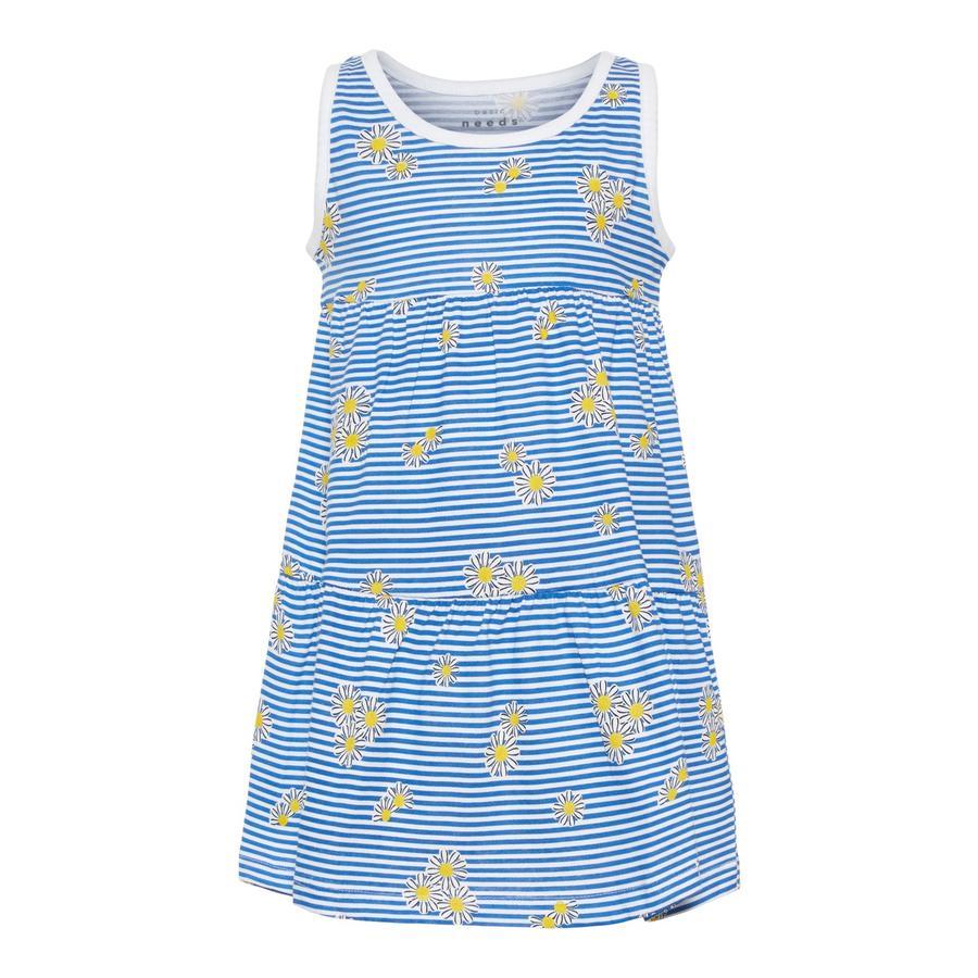 name it Girl s Sukienka Vigga Jasnobiałe, białe, niebieskie pasy i kwiaty