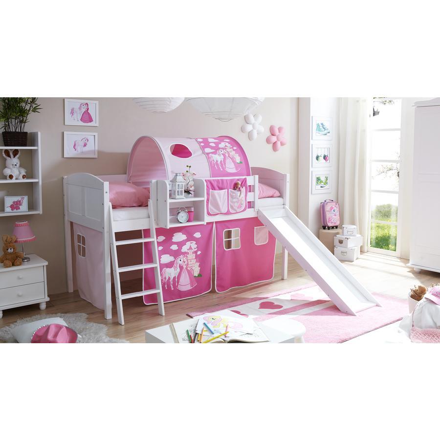 TICAA Patrová postel se skluzavkou EKKI borovice bílá Country - Horse růžovo-pink