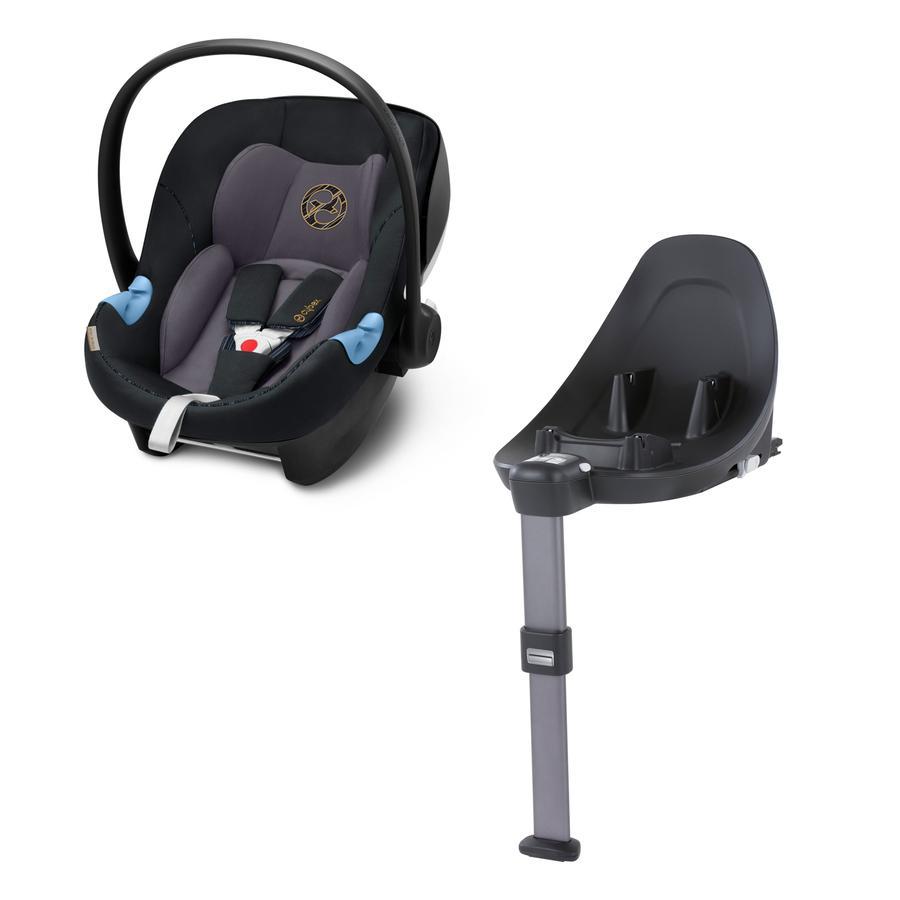 cybex GOLD Babyschale Aton M i-Size Premium Black mit Basisstation Base M