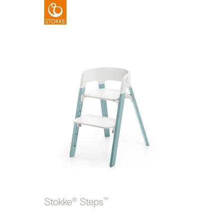 STOKKE® Steps™ Hochstuhl weiß Buche Aqua Blue